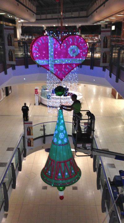 festive installations at shopping centres